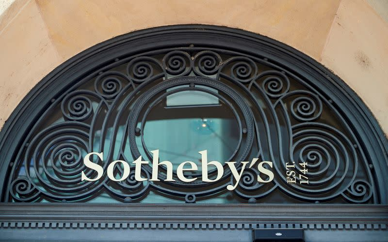 FILE PHOTO: A logo is pictured on Sotheby's before the resuming of live jewellery auctions in Geneva