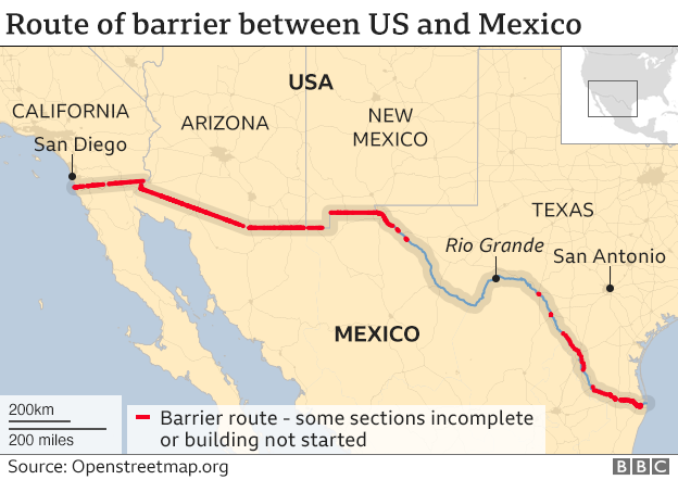 US-Mexico border barrier route