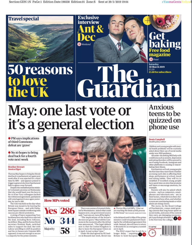 "<p>The Guardian says it would be ""madness"" for Mrs May to try for a fourth time to get her deal past the Commons, saying it is ""three strikes and out"".<br />""The reality is that Britain now faces a choice between a no-deal exit in two weeks' time or a much longer delay to Brexit, during which the UK will probably take part in the EU elections,"" the paper says. ""Since the former is unthinkably dangerous, the choice must clearly be for a longer delay."" </p>"