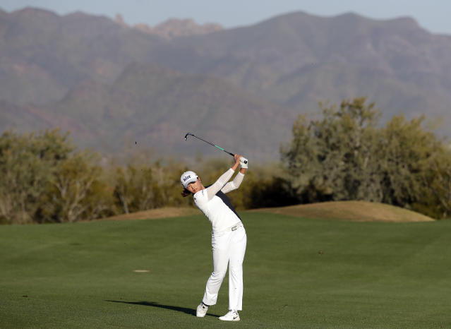Jin Young Ko hits from the 18th fairway during the final round of the Founders Cup LPGA golf tournament, Sunday, March 24, 2019, in Phoenix. (AP Photo/Matt York)