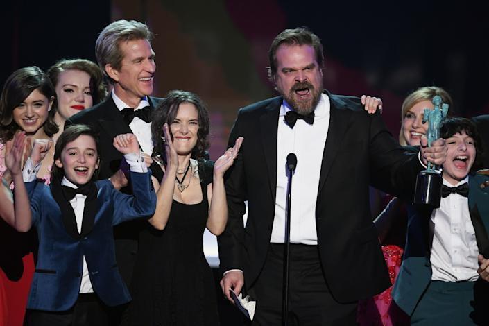 """David Harbour addresses the ban while accepting an award for""""Stranger Things"""" during the SAG Awards.<br /><br />""""Now, as we act in the continuing narrative of 'Stranger Things,' we 1983 Midwesternerswill repel bullies, we will shelter freaks and outcasts, those who have no home. We will get past the lies, we will hunt monsters. And when we are at a loss amidst the hypocrisy and the casual violence of certain individuals and institutions. We will, as per Chief Jim Hopper, punch some people in the face when they seek to destroy the weak, the disenfranchised and the marginalized!"""""""