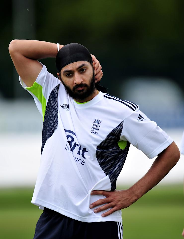DERBY, ENGLAND - MAY 18:  Monty Panesar of England Lions in action during a net session at The County Ground on May 18, 2010 in Derby, England.  (Photo by Clive Mason/Getty Images)