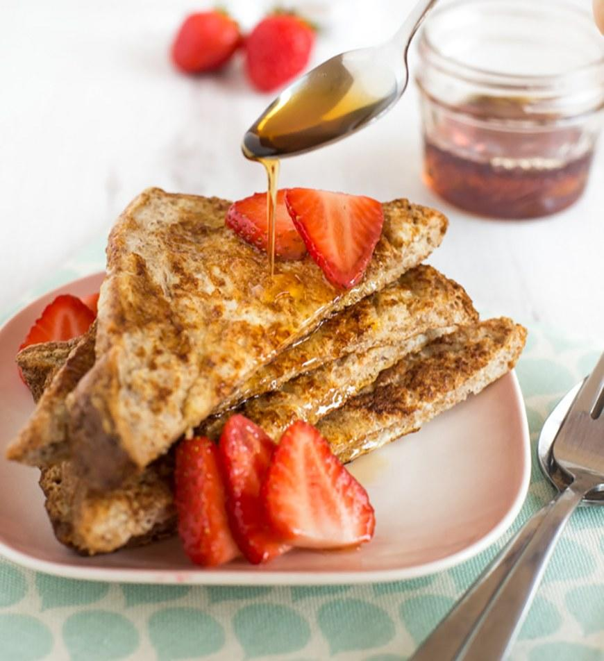 """<p>Amuse Your Bouche uses skim milk and egg whites to cut the calorie count in this French toast (or eggy bread, as it is apparently called in England). Get the recipe <a rel=""""nofollow"""" href=""""http://www.amuse-your-bouche.com/healthier-french-toast?mbid=synd_yahoofood"""">here</a>.</p><p><b>Per one serving:</b> <em>143 calories</em></p>"""