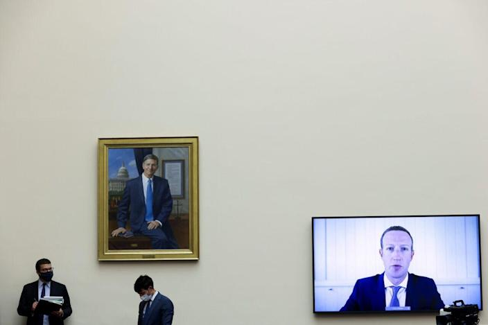 Facebook CEO Mark Zuckerberg testifies via video conference during the House Judiciary Subcommittee on Antitrust, Commercial and Administrative Law hearing on Online Platforms and Market Power in the Rayburn House office Building, July 29, 2020 on Capitol Hill in Washington, DC. The committee was scheduled to hear testimony from the CEOs of Apple, Facebook, Amazon and Google. (Photo by Graeme Jennings-Pool/Getty Images)