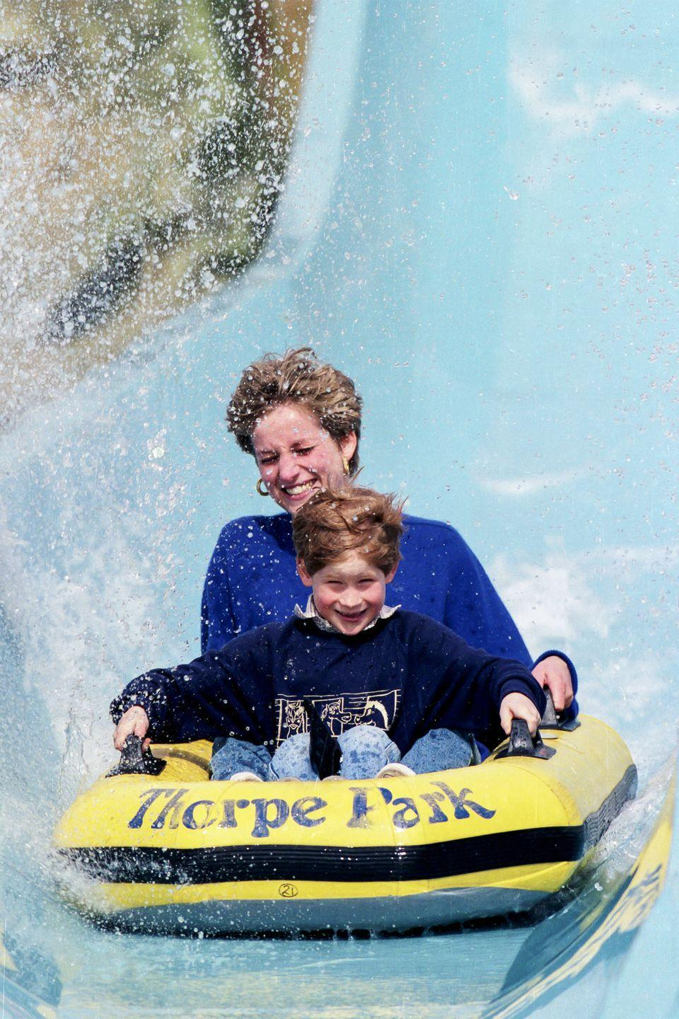 <p>Riding the Depth Charge ride at Thorpe Park with Prince Harry. </p>