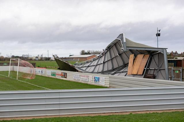 Damage to one of the stands at Wisbech Town Football Club in Cambridgeshire. (PA)