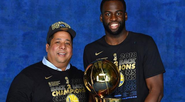 Noordin Said with Draymond Green after the Warriors won the 2018 NBA championship. (Courtesy of Samantha Said)