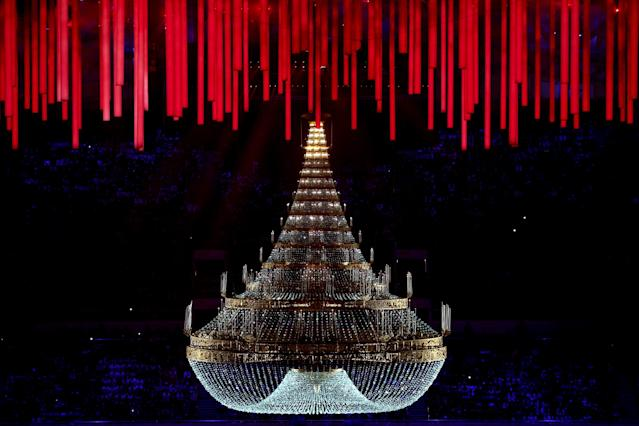 SOCHI, RUSSIA - FEBRUARY 23: A general view of chandelier in a celebration of Russian music during the 2014 Sochi Winter Olympics Closing Ceremony at Fisht Olympic Stadium on February 23, 2014 in Sochi, Russia. (Photo by Matthew Stockman/Getty Images)
