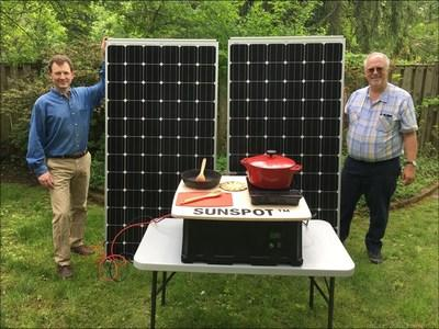 Paul Carroll and Douglas Danley (right) stand alongside the Sunspot Solar Electric Cooker. Danley, Carroll and team members Teresa Danley, and Vladimir Brunstein (not pictured) were this year's winners of the Elsevier-ISES Renewable Transformation Challenge (Credit: Douglas Danley) (PRNewsfoto/Elsevier)