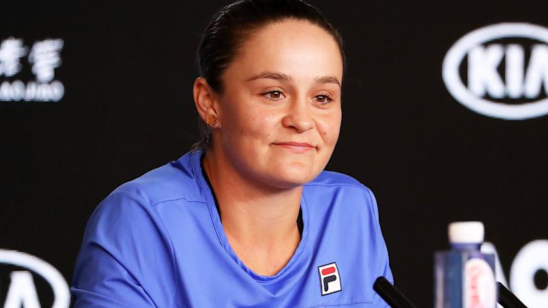 Ashleigh Barty, pictured here speaking to the media ahead of the Australian Open.