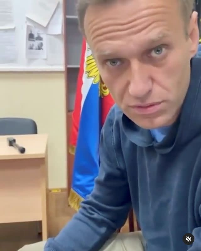 Russian opposition leader Alexei Navalny attends a court hearing in Khimki