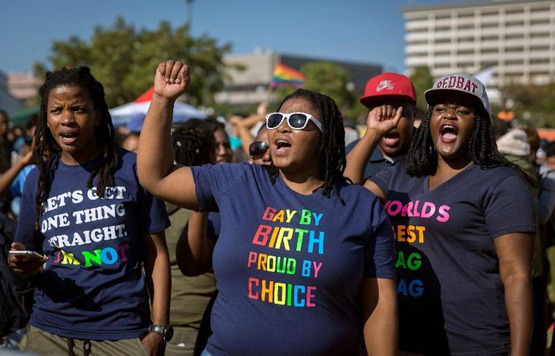Freedom: In 2006, South Africa became the first country in Africa to allow gay marriage (AFP Photo/RAJESH JANTILAL)