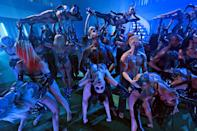 <p>Dancers wear vinyl and lace sets at the opening of the Savage X Fenty Vol.3 Show.</p>