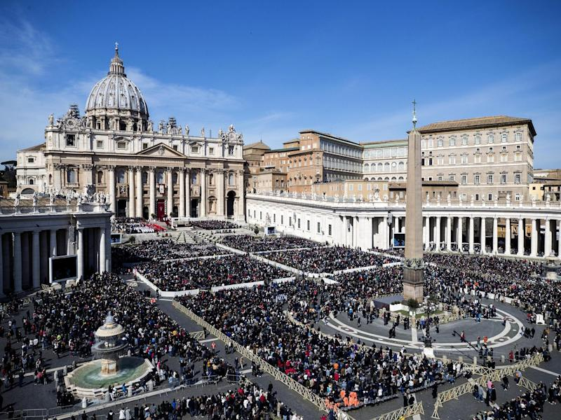 A view of St Peter's Square as Pope Francis celebrates Palm Sunday Mass at the Vatican, urging young people not to be silent and let their voices be heard: AP/Angelo Carconi