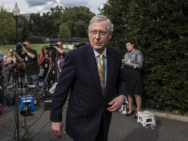 Senate Majority Leader Mitch McConnell of Ky., walks away after speaking with reporters and members of the media and after they and other Senate Republicans had a meeting with President Donald Trump, outside the West Wing of the White House of the White House in Washington, DC on Tuesday, June 27, 2017. (Photo: Jabin Botsford/The Washington Post via Getty Images)