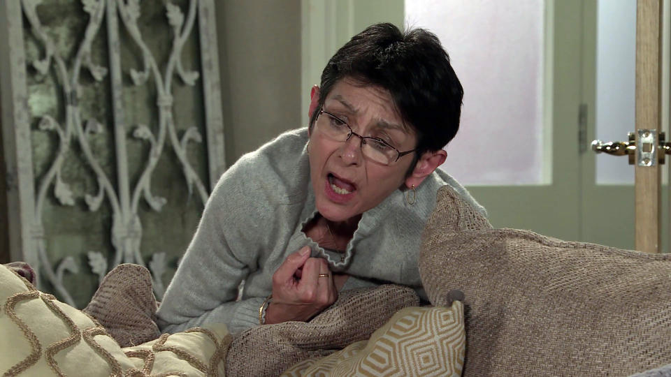 FROM ITV  STRICT EMBARGO - No Use Before  Tuesday 23rd February 2021  Coronation Street - Ep 10263  Wednesday 3rd March 2021 - 1st Ep  Locking herself into No.6 Yasmeen Metcalfe's [SHELLEY KING] suddenly wracked with pain. Clutching her chest, she struggles to breath.  Picture contact David.crook@itv.com   This photograph is (C) ITV Plc and can only be reproduced for editorial purposes directly in connection with the programme or event mentioned above, or ITV plc. Once made available by ITV plc Picture Desk, this photograph can be reproduced once only up until the transmission [TX] date and no reproduction fee will be charged. Any subsequent usage may incur a fee. This photograph must not be manipulated [excluding basic cropping] in a manner which alters the visual appearance of the person photographed deemed detrimental or inappropriate by ITV plc Picture Desk. This photograph must not be syndicated to any other company, publication or website, or permanently archived, without the express written permission of ITV Picture Desk. Full Terms and conditions are available on  www.itv.com/presscentre/itvpictures/terms