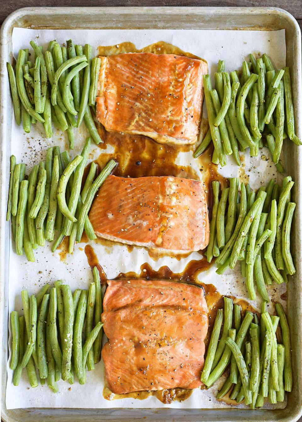 "<p>When it comes to sheet pan dinners, salmon is the new chicken. </p><p>Get the recipe from <a href=""https://www.delish.com/cooking/recipe-ideas/recipes/a53192/teriyaki-glazed-salmon-recipe/?visibilityoverride"" rel=""nofollow noopener"" target=""_blank"" data-ylk=""slk:Delish"" class=""link rapid-noclick-resp"">Delish</a>.</p>"
