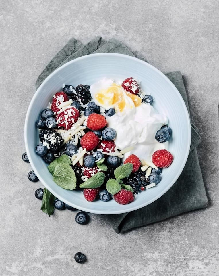 "<p>A yogurt and berry parfait is a great choice, Jenn told POPSUGAR, especially if you're getting closer to the end of the night. The yogurt is a good source of protein, and the calcium can also help your brain produce <a href=""https://www.medicalnewstoday.com/releases/163169.php"" target=""_blank"" class=""ga-track"" data-ga-category=""Related"" data-ga-label=""https://www.medicalnewstoday.com/releases/163169.php"" data-ga-action=""In-Line Links"">melatonin</a>, a hormone that <a href=""https://www.popsugar.com/fitness/Do-You-Need-Melatonin-40254867"" class=""ga-track"" data-ga-category=""Related"" data-ga-label=""https://www.popsugar.com/fitness/Do-You-Need-Melatonin-40254867"" data-ga-action=""In-Line Links"">regulates your sleep-wake cycles</a>. The fruit is a sweet but healthy and fibrous topping, and you can even add nuts on top for some crunch.</p>"
