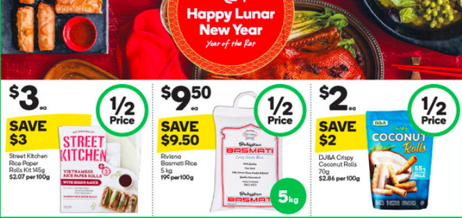 Asian groceries on sale for half-price at Woolworths.