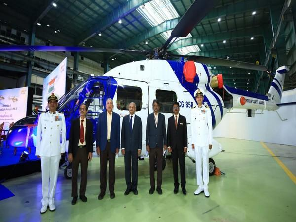 Defence Secretary Dr Ajay Kumar inducts ALH Mk-III into the Indian Coast Guard.