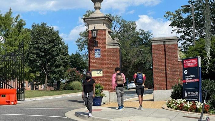 Students walking on the campus of Howard University