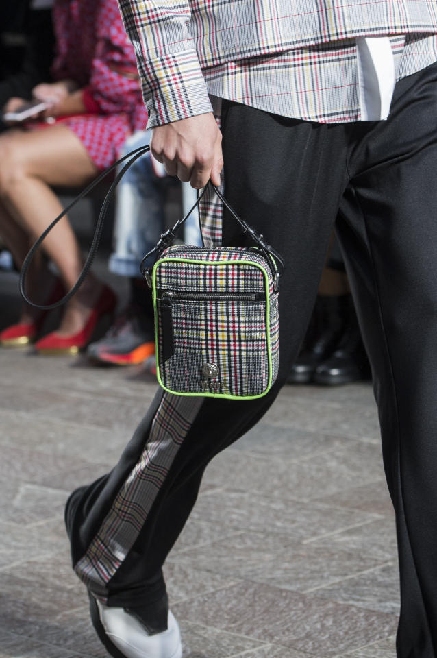 <p><i>Colorful plaid rectangular bag from the SS18 Versus Versace collection. (Photo: ImaxTree) </i></p>