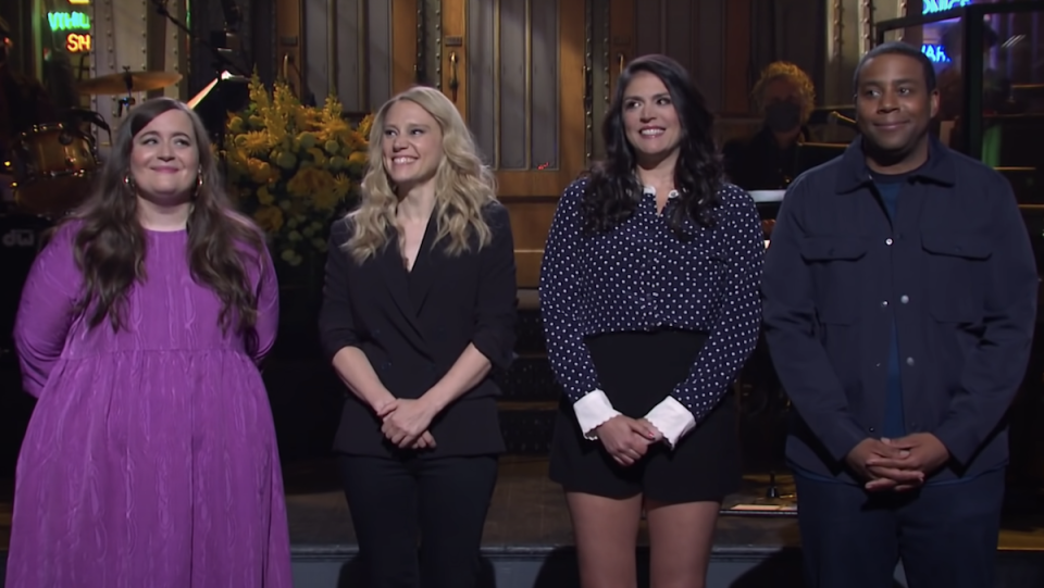 Aidy Bryant, Kate McKinnon, Cecily Strong, and Kenan Thompson at the SNL season 46 finale