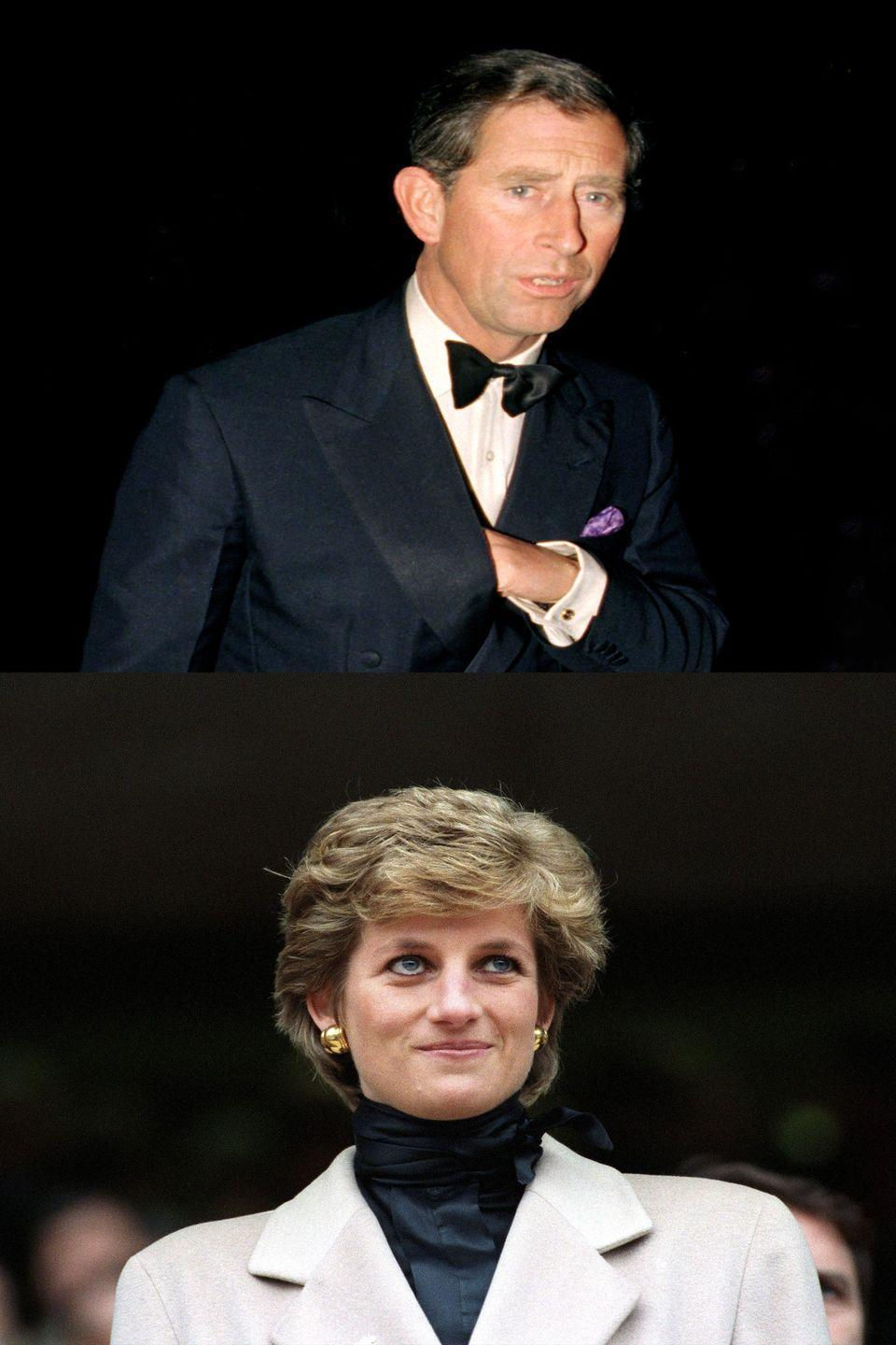 "<p>The People's Princess and her husband, Prince Charles, had separated way back in 1992, and the dissolution of the royal couple's marriage was a source of endless fascination. In 1994, Charles admitted to cheating on her with Camila Parker Bowles, and the following year, Princess Di finally sat down for her first solo interview. ""There were three of us in this marriage, so it was a bit crowded,"" <a href=""http://time.com/3583780/princess-diana-history/"" rel=""nofollow noopener"" target=""_blank"" data-ylk=""slk:she revealed"" class=""link rapid-noclick-resp"">she revealed</a>, while also admitting she'd been unfaithful. It got so much attention that a month later, the Queen <a href=""http://www.nytimes.com/1995/12/21/world/queen-urges-prince-charles-and-diana-to-divorce-soon.html"" rel=""nofollow noopener"" target=""_blank"" data-ylk=""slk:wrote the pair a letter"" class=""link rapid-noclick-resp"">wrote the pair a letter</a> telling them to hurry up and divorce already.</p>"