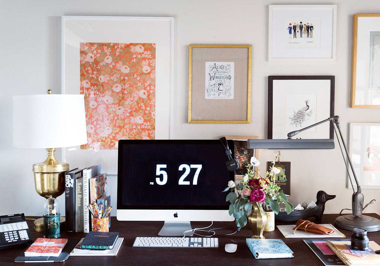 """""""Everyone's needs are so different,"""" says Anna Bond, cofounder and creative director of <a href=""""https://riflepaperco.com/"""" target=""""_blank"""">Rifle Paper Co.</a> """"One of my favorite things about a home office is how much fun you can have with a <a href=""""http://www.architecturaldigest.com/gallery/wall-mounted-desks-home-office?mbid=synd_yahoo_rss"""">desk</a>—there are so many options."""" In her studio, she opts for a large dining table, which affords her enough room for working at her computer, reviewing products and samples, and painting. At home, however, she chose something smaller and more intimate. """"The vibe is very cozy and warm."""""""