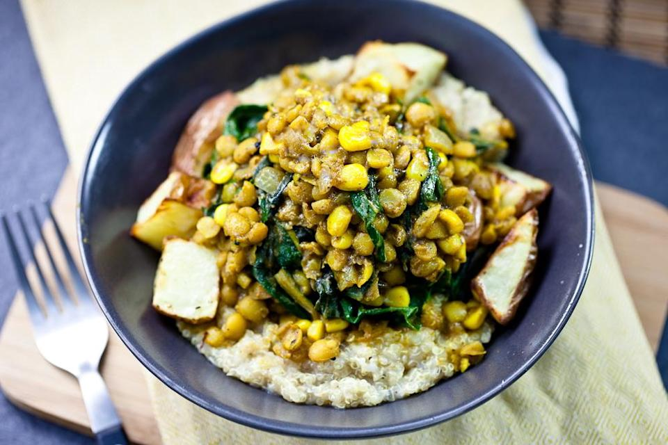 """<div class=""""caption-credit""""> Photo by: Keepin' It Kind</div><div class=""""caption-title"""">Curried Lentils, Corn and Chard with Roasted Potatoes</div>This lively vegan recipe is ripe with the flavors of late summer produce, then made kicky with curry powder and a hit of jalapeno. <br> <br> <b>Recipe: <span>Curried Lentils, Corn and Chard with Roasted Potatoes</span></b> <br>"""