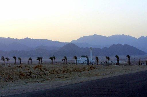 The Sinai mountains silhouetted at sunset behind Sharm el-Sheikh's main mosque