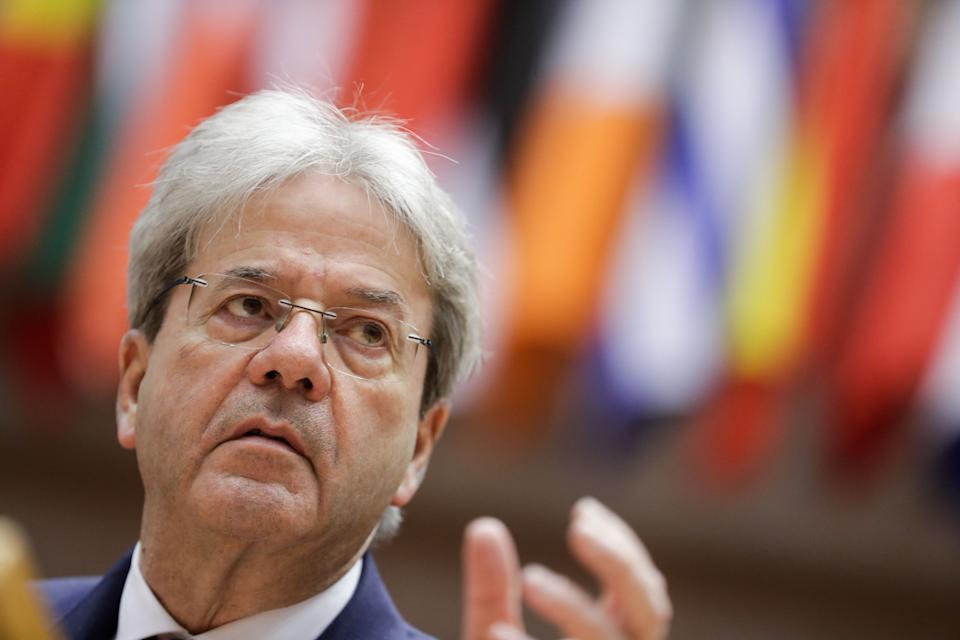 European Commissioner for Economy Paolo Gentiloni speaks during a plenary session of the European Parliament in Brussels on March 9, 2021. (Photo by STEPHANIE LECOCQ / POOL / AFP) (Photo by STEPHANIE LECOCQ/POOL/AFP via Getty Images) (Photo: STEPHANIE LECOCQ via Getty Images)