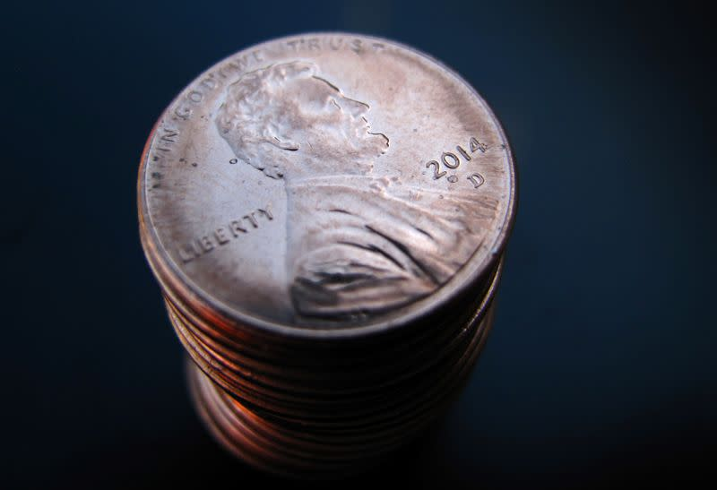 FILE PHOTO: A stack of one cent U.S. coins depicting Abraham Lincoln is shown in this photo Illustration in Encinitas, California