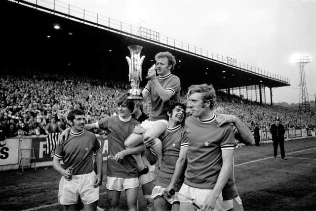 Mick Bates, second right, scored for Leeds in their two-legged Fairs Cup final win against Juventus in 1971