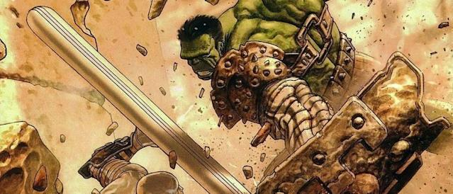 Hulk in combat in <i>Planet Hulk</i>. (Image: Marvel Comics)