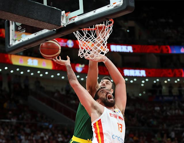 Marc Gasol of Spain drives against Andrew Bogut of Australia during the semi-finals of 2019 FIBA World Cup . (Photo by Lintao Zhang/Getty Images)