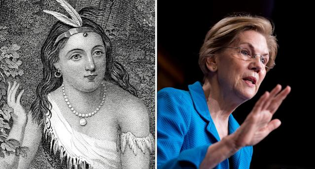 Pocahontas, 1595-1617, and Sen. Elizabeth Warren, D-Mass. (Photos: Getty Images, Bill Clark/CQ Roll Call)