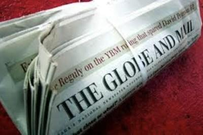 Globe and Mail newspaper on red carpet. (CNW Group/Unifor)