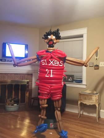 Is that the real Joel Embiid, or just a life-like balloon-based facsimile? You'll never be able to guess. (Image via Craigslist)