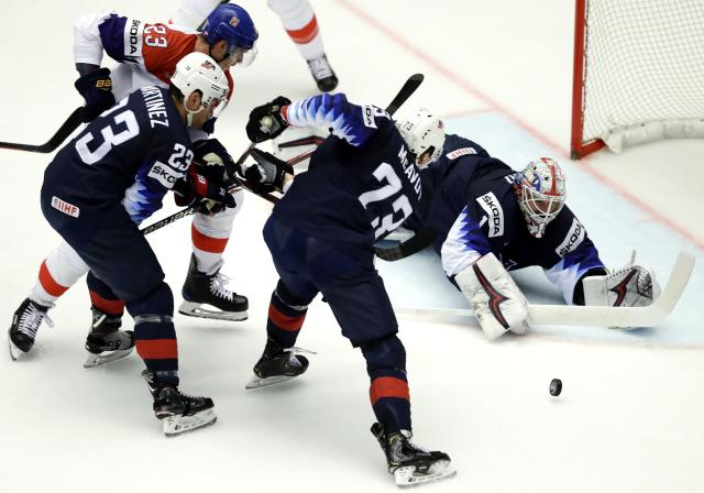 Ice Hockey - 2018 IIHF World Championships - Quarterfinals - USA v Czech Republic - Jyske Bank Boxen - Herning, Denmark - May 17, 2018 - Ggoaltender Keith Kinkaid, Charlie McAvoy and Alec Martinez of the U.S. in action with Dmitrij Jaskin of the Czech Republic. REUTERS/David W Cerny