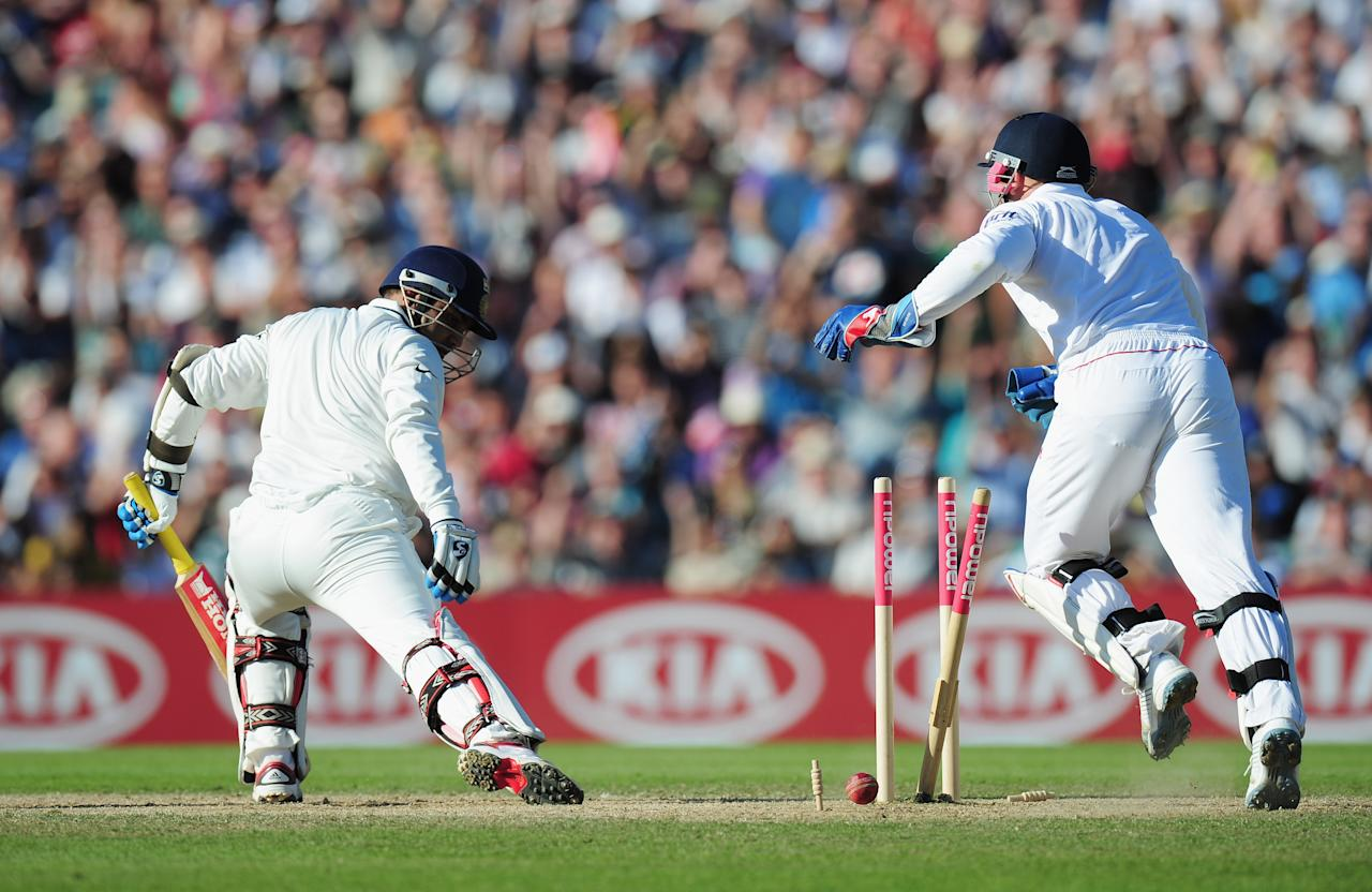 LONDON, ENGLAND - AUGUST 21: Virender Sehwag of India is bowled by Graeme Swann of England during day four of the 4th npower Test Match between England and India at The Kia Oval on August 21, 2011 in London, England.  (Photo by Shaun Botterill/Getty Images)