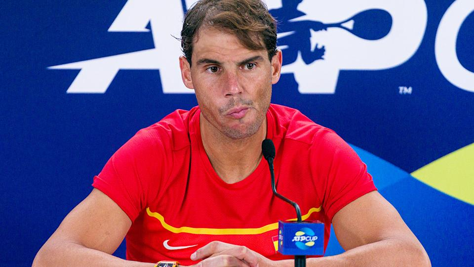 Rafael Nadal, pictured here speakng to the media after his loss in the ATP Cup final.