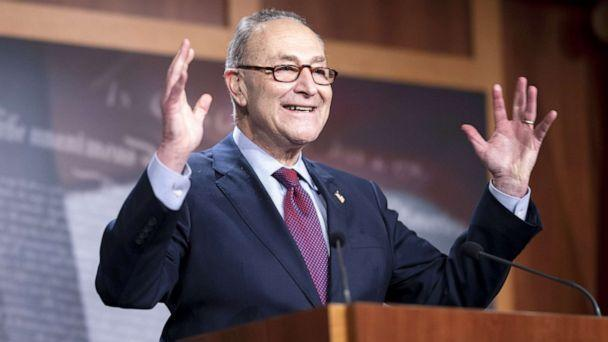PHOTO: Senate Majority Leader Chuck Schumer speaks during a press conference at the U.S. Capitol in Washington, D.C., March 6, 2021. (Bloomberg via Getty Images)