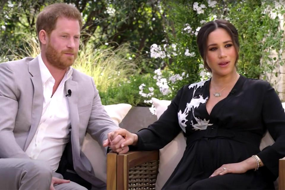<p>The Duke and Duchess of Sussex appear in teaser clip for their tell-all interview with Oprah</p> (CBS)