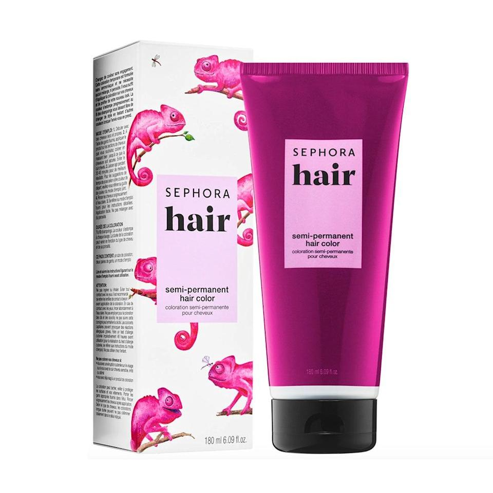 """<p><a href=""""https://www.allure.com/story/sephora-collection-new-hair-product-line?mbid=synd_yahoo_rss"""" rel=""""nofollow noopener"""" target=""""_blank"""" data-ylk=""""slk:Sephora Collection"""" class=""""link rapid-noclick-resp"""">Sephora Collection</a> has just about every product imaginable, so it's no surprise it also has its own semi-permanent hair color — and who could resist a shade called """"Psychic Pink""""? We predict you'll receive so many compliments during this seven-to-10-washes period. Keep the cream in for 30 to 45 minutes for best results. It's not recommended for shades darker than light brown.</p> <p><strong>$12</strong> (<a href=""""https://shop-links.co/1705299465412848921"""" rel=""""nofollow noopener"""" target=""""_blank"""" data-ylk=""""slk:Shop Now"""" class=""""link rapid-noclick-resp"""">Shop Now</a>)</p>"""