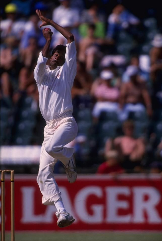 Nov 1992:  Javagal Srinath of India bowling during the 2nd Test Match against South Africa in Johannesburg.