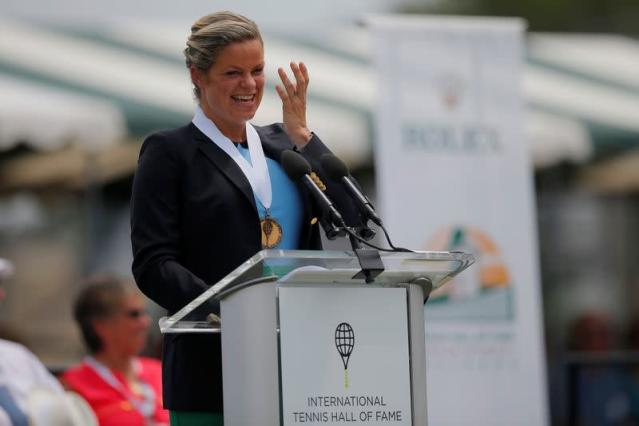 Kim Clijsters of Belgium speaks as she is inducted into the International Tennis Hall of Fame in Newport