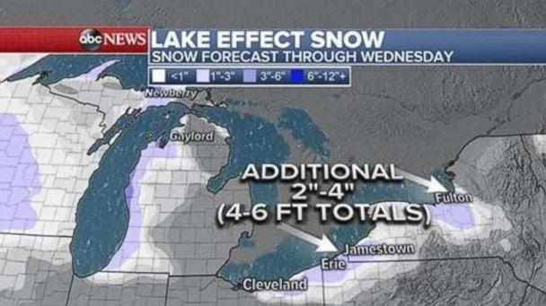 PHOTO: This weather map shows snow forecast through Wednesday. (ABC News)