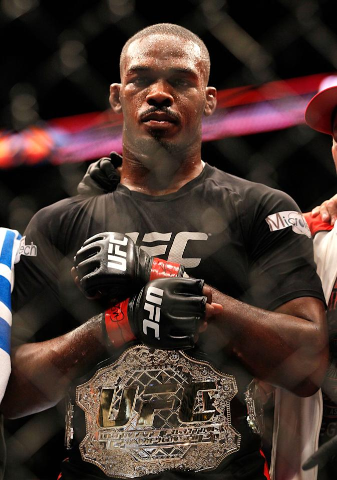 ATLANTA, GA - APRIL 21:  Jon Jones celebrates defeating Rashad Evans by unanimous decision in their light heavyweight title bout for UFC 145 at Philips Arena on April 21, 2012 in Atlanta, Georgia.  (Photo by Kevin C. Cox/Getty Images)