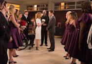 """<p>Melissa Benoist (Marley Rose) and Blake Jenner (Ryder Lynn) met on the set of <em>Glee</em> in 2012. The couple got married in 2015 after the show's season six finale, but they <a href=""""https://www.eonline.com/uk/news/901754/melissa-benoist-and-blake-jenner-finalize-their-divorce"""" rel=""""nofollow noopener"""" target=""""_blank"""" data-ylk=""""slk:filed for divorce"""" class=""""link rapid-noclick-resp"""">filed for divorce</a> the following year.</p>"""